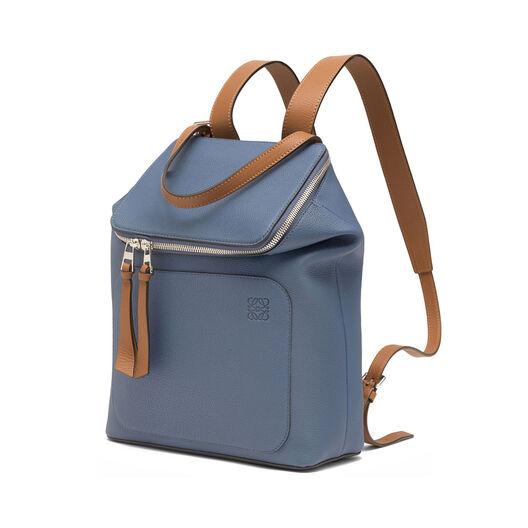 LOEWE Goya Small Backpack Varsity Blue/Tan front