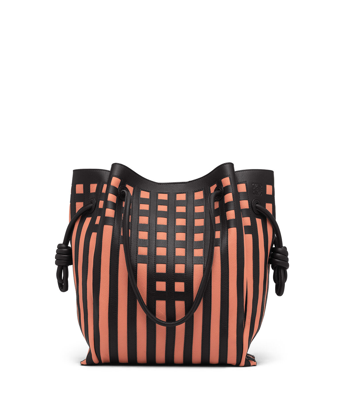 LOEWE Flamenco Knot Tote Grid Bag Black/Pink Tulip all