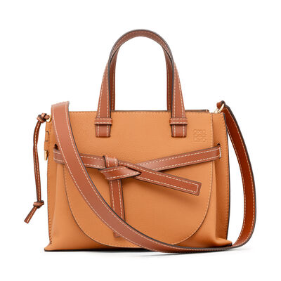 LOEWE Gate Top Handle Small Bag Light Caramel/Pecan Color  front