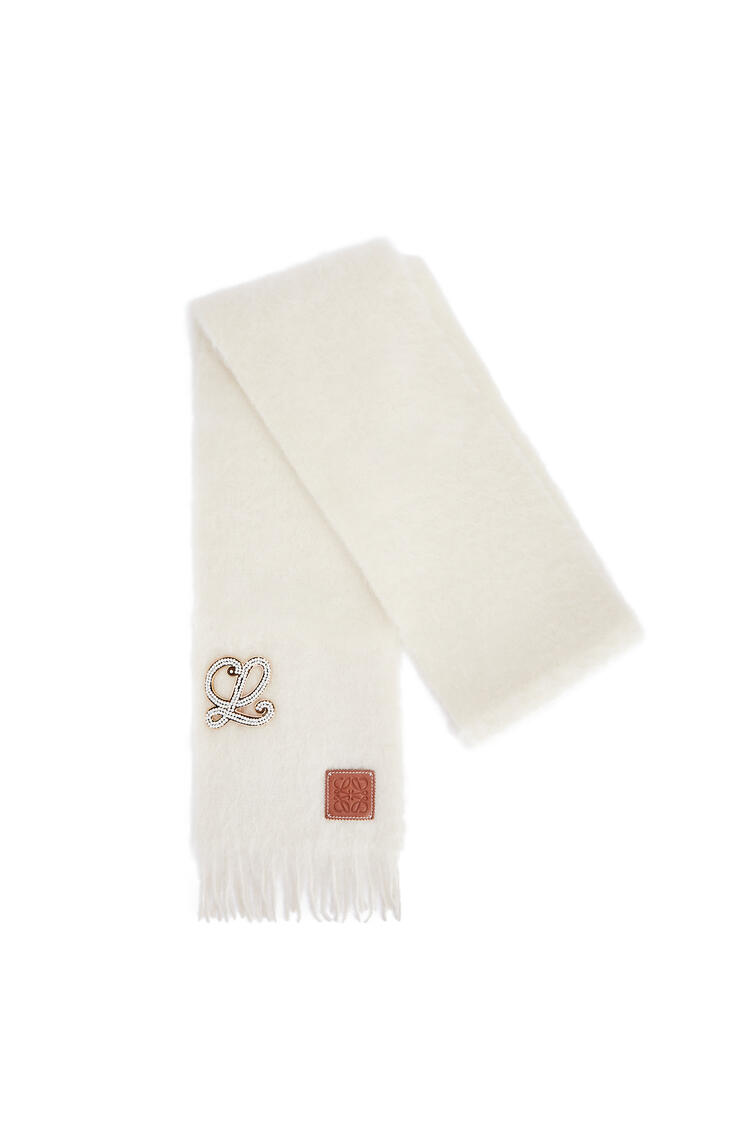 LOEWE Brooch scarf in mohair and wool Off-white pdp_rd