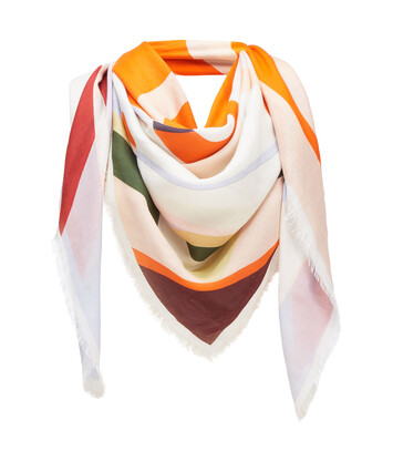 LOEWE 140X140 Scarf Stripe Anagram Orange front