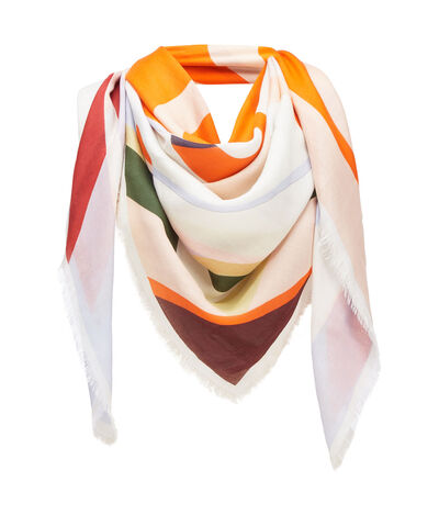 LOEWE 140X140 Scarf Stripe Anagram Naranja front