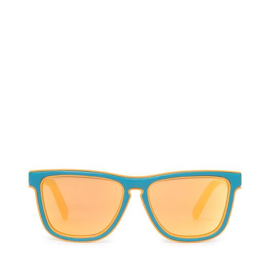 LOEWE スクエアパッドサングラス Turquoise/Mirror Yellow front