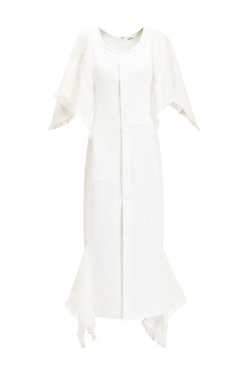 LOEWE Cape Sleeve Dress Blanco front