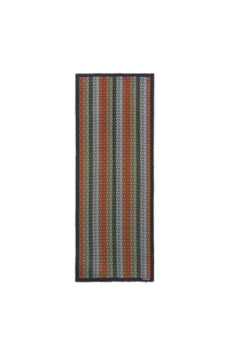 LOEWE Anagram lines scarf in wool, silk and cashmere Black/Khaki Green pdp_rd