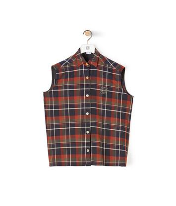 LOEWE Sleeveless Check Shirt Marino/Rojo front