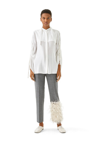 LOEWE Feather Trim Trousers Gris front