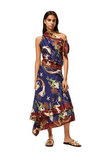 LOEWE Asymmetric Knot Dress In Mermaid Silk Blue/Brown front