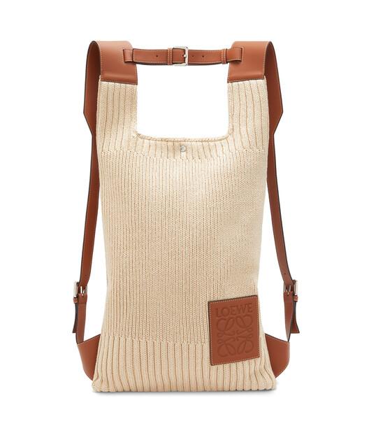LOEWE Shopper Backpack Knit Natural/Tan front