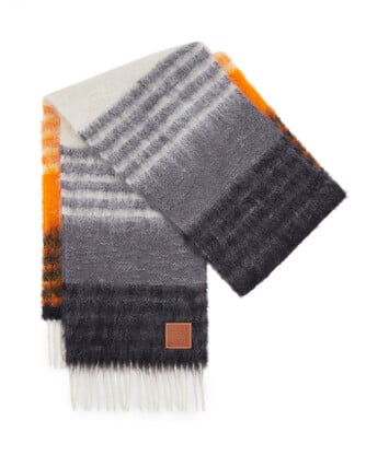 LOEWE 28X185 Mohair Scarf Stripes Multicolor/Orange front