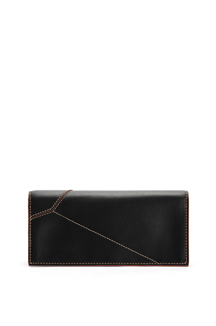 LOEWE Puzzle stitch long horizontal wallet in smooth calfskin Black pdp_rd