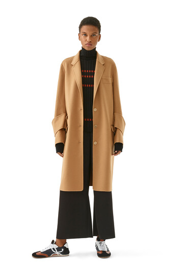 LOEWE Cuff Detail Coat Camel front
