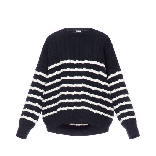 LOEWE Stripe Cable Knit Sweater 黑色/白色 front