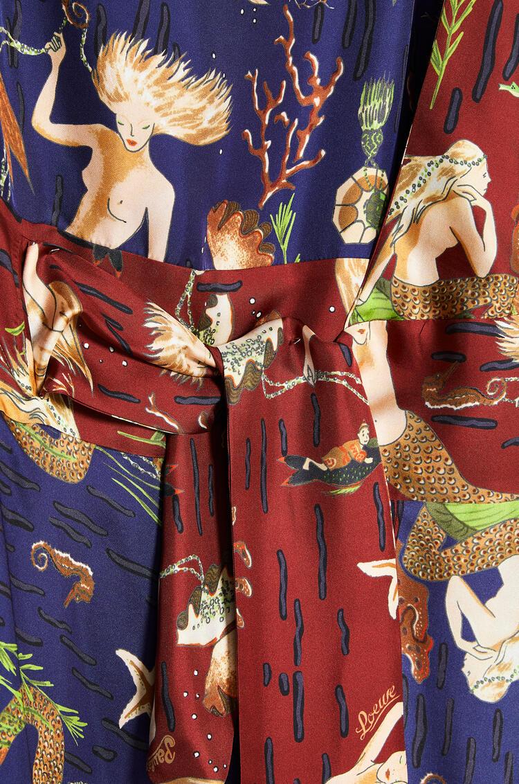 LOEWE Asymmetric knot dress in mermaid silk Blue/Brown pdp_rd