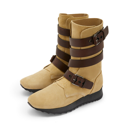 LOEWE Strappy Boot Gold/Dark Brown front