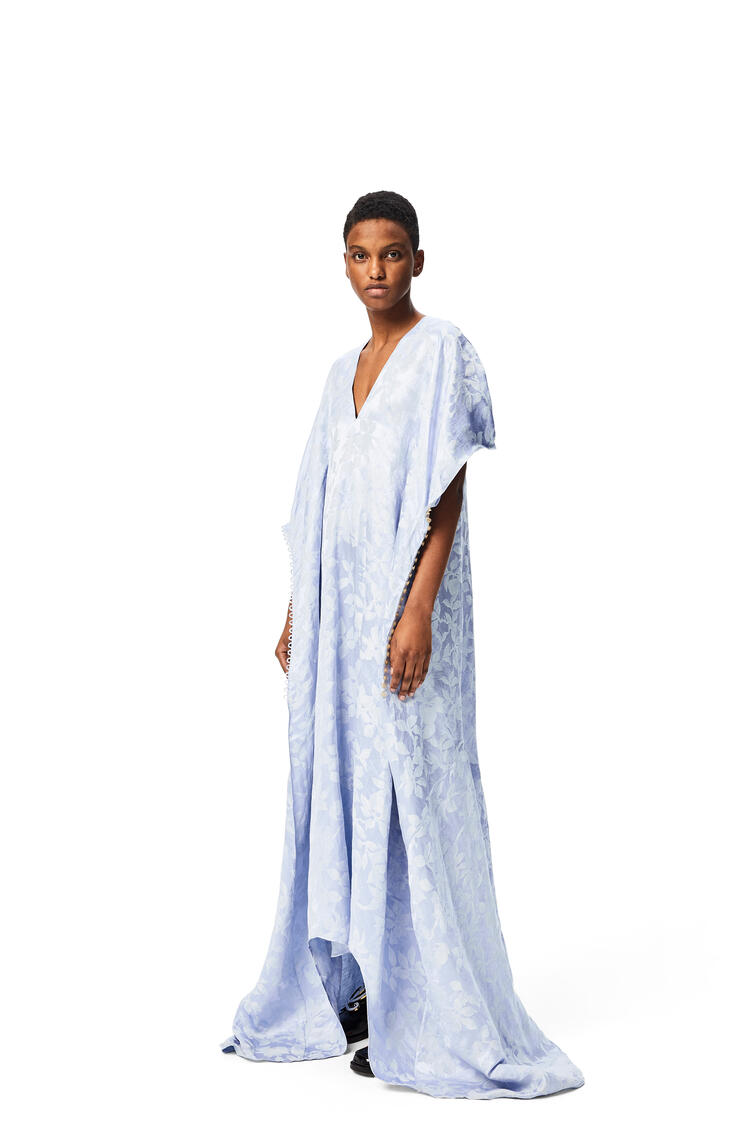 LOEWE Flower jacquard dress in linen and silk Baby Blue pdp_rd