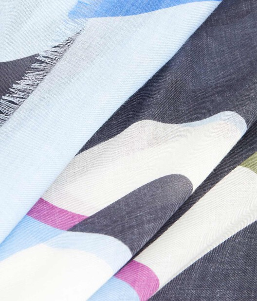 LOEWE 140X140 Scarf Stripe Anagram 蓝色 front