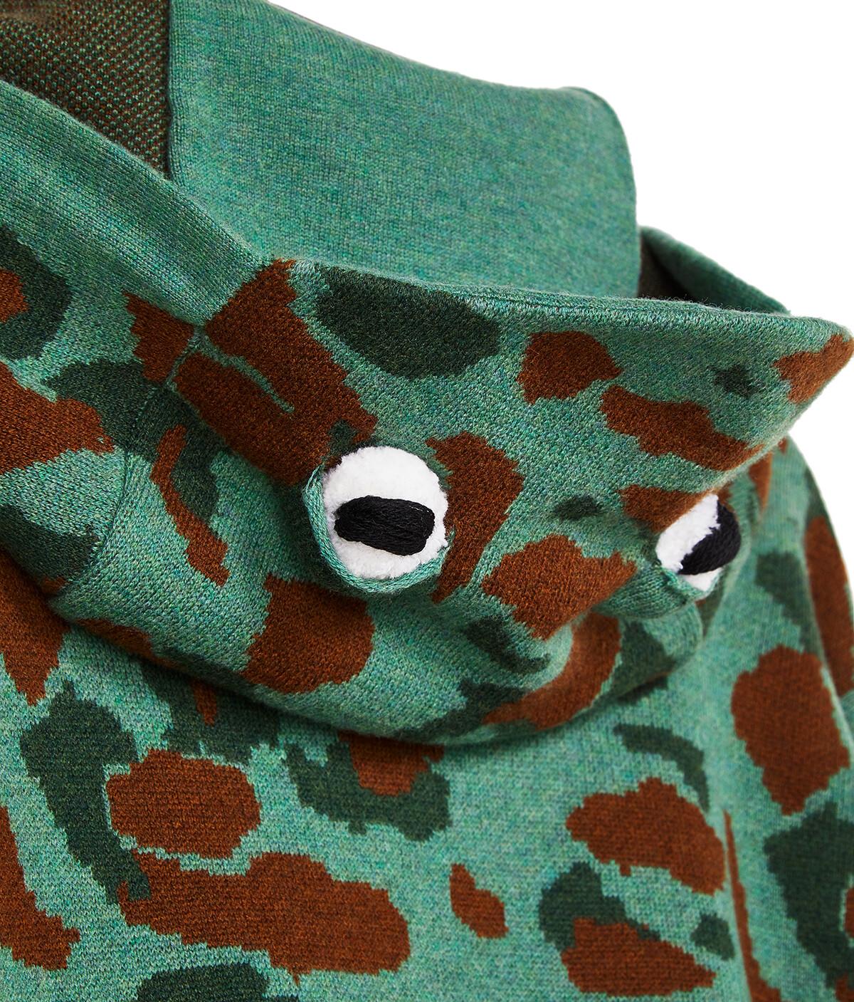 LOEWE Frog Knit Hoodie Khaki Green front