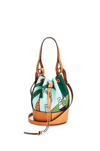LOEWE Small Easter Island Balloon bag in canvas and calfskin Mint/Multicolor pdp_rd