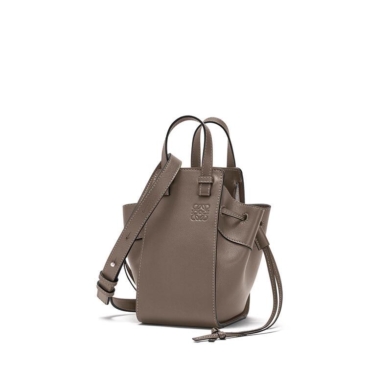 LOEWE Mini Hammock Drawstring bag in nappa calfskin Dark Taupe pdp_rd