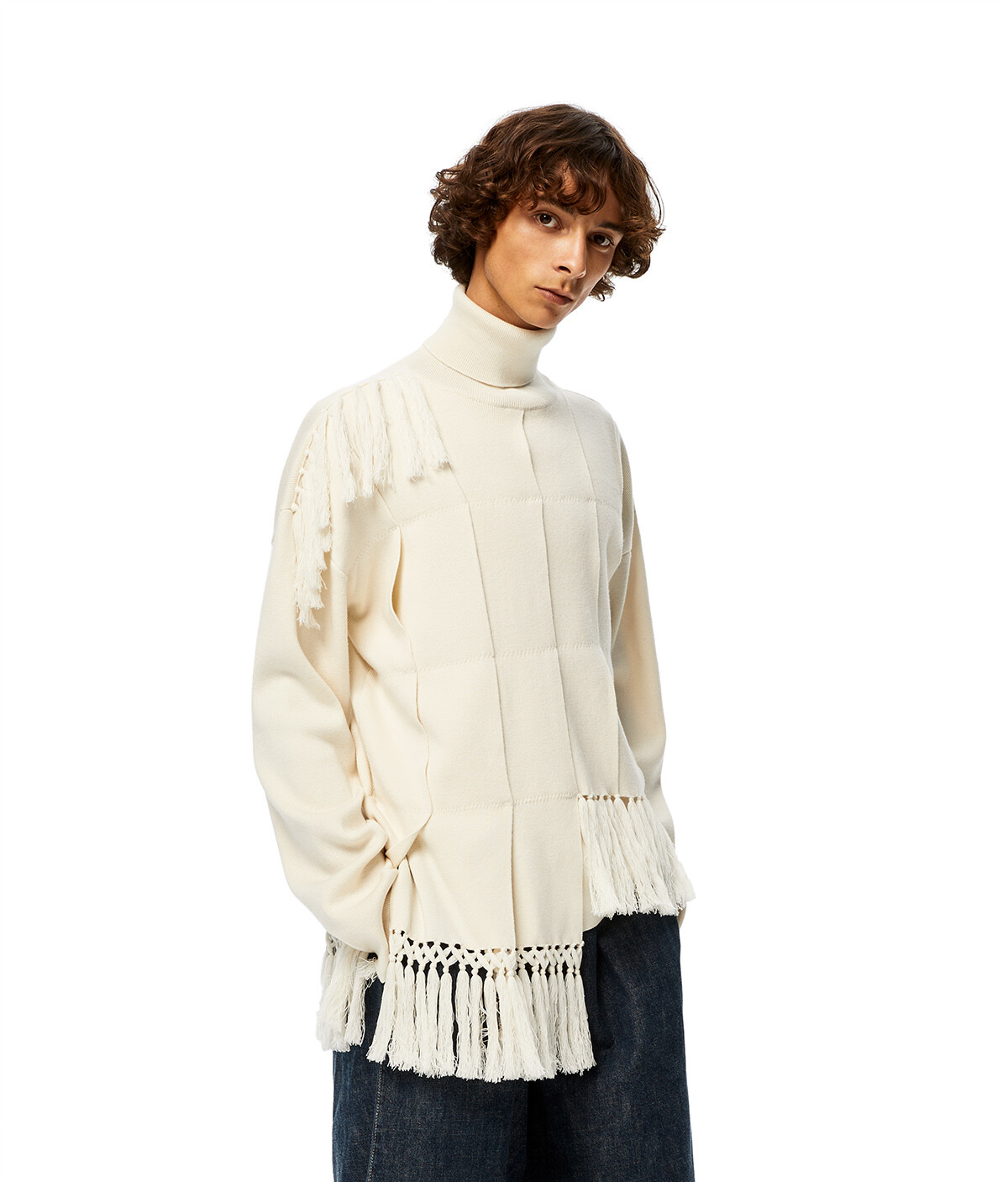 LOEWE High Neck Asym Sweater Fringes Ecru front