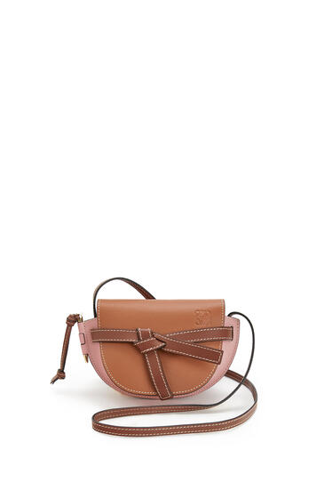 LOEWE Mini Gate bag in soft calfskin Tan/Medium Pink pdp_rd