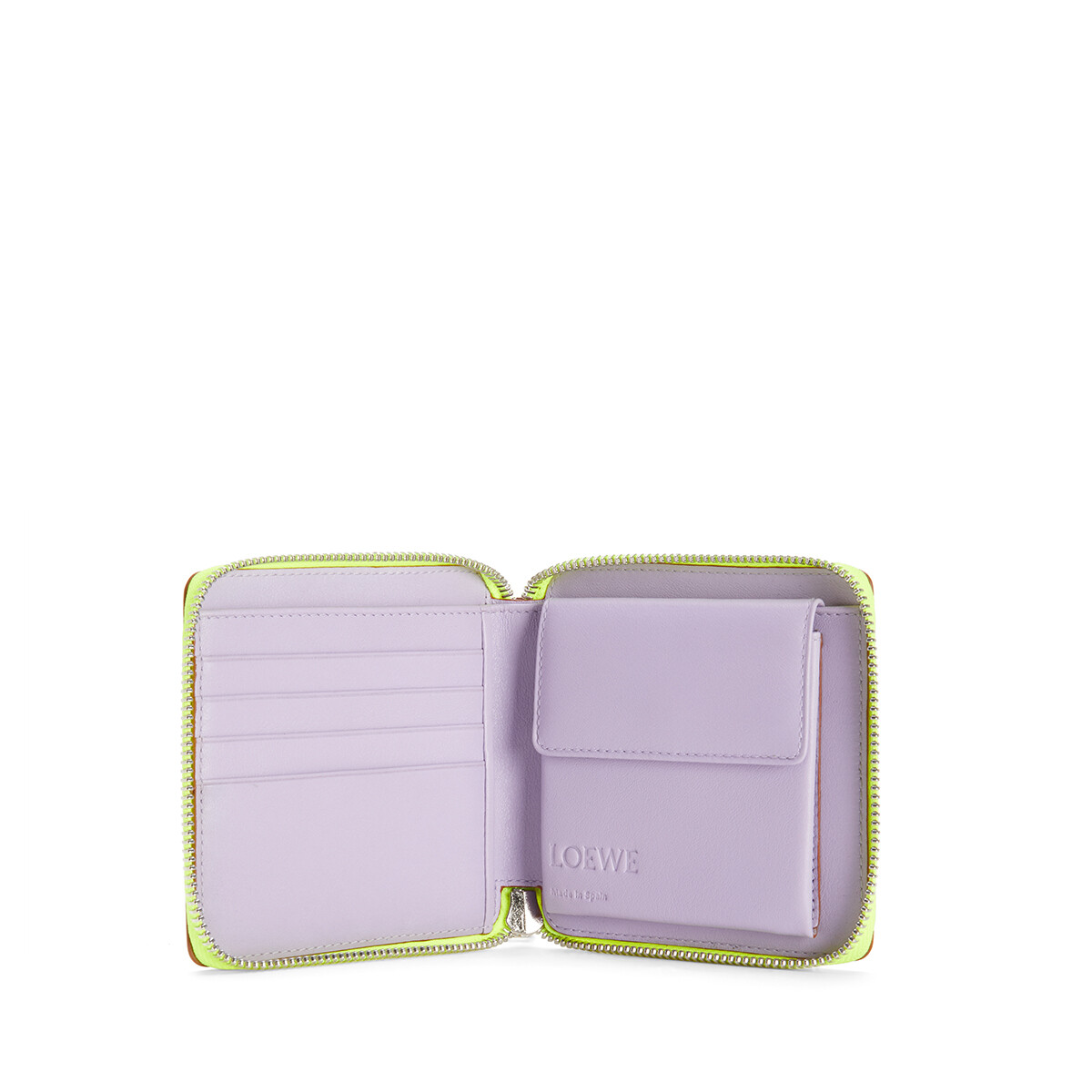 LOEWE Puzzle Square Zip Wallet In Classic Calfskin Mauve/Soft Apricot front