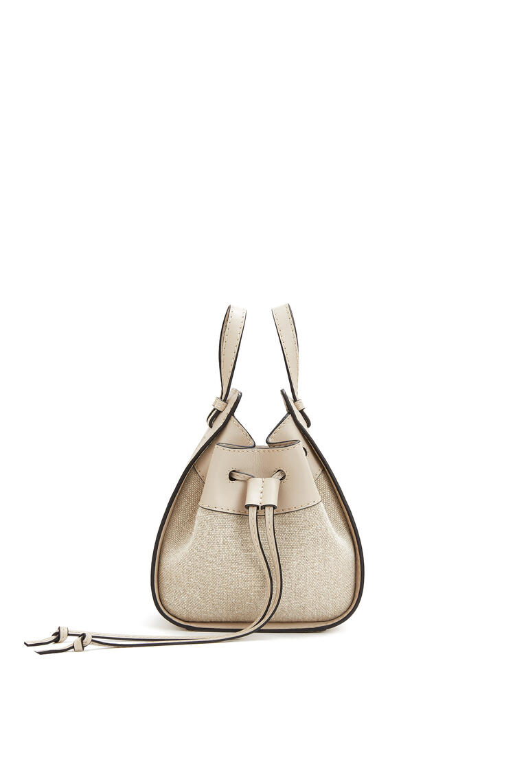 LOEWE Mini Hammock Drawstring bag in calfskin and linen Light Oat pdp_rd