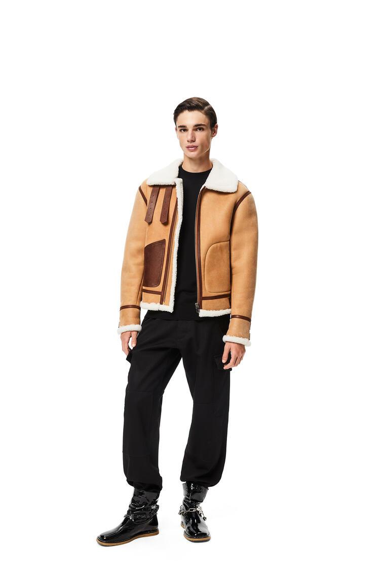 LOEWE Shearling aviator jacket in novack and nappa Camel pdp_rd