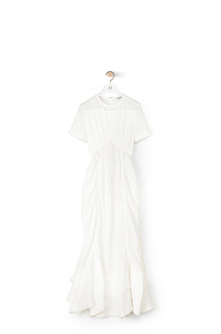 LOEWE Ruffle Gathered Dress In Cotton White pdp_rd