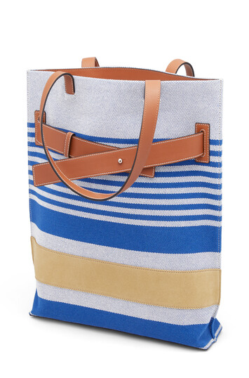LOEWE Strap Vertic Tote Stripes Bag Pacific Blue/Multicolor front