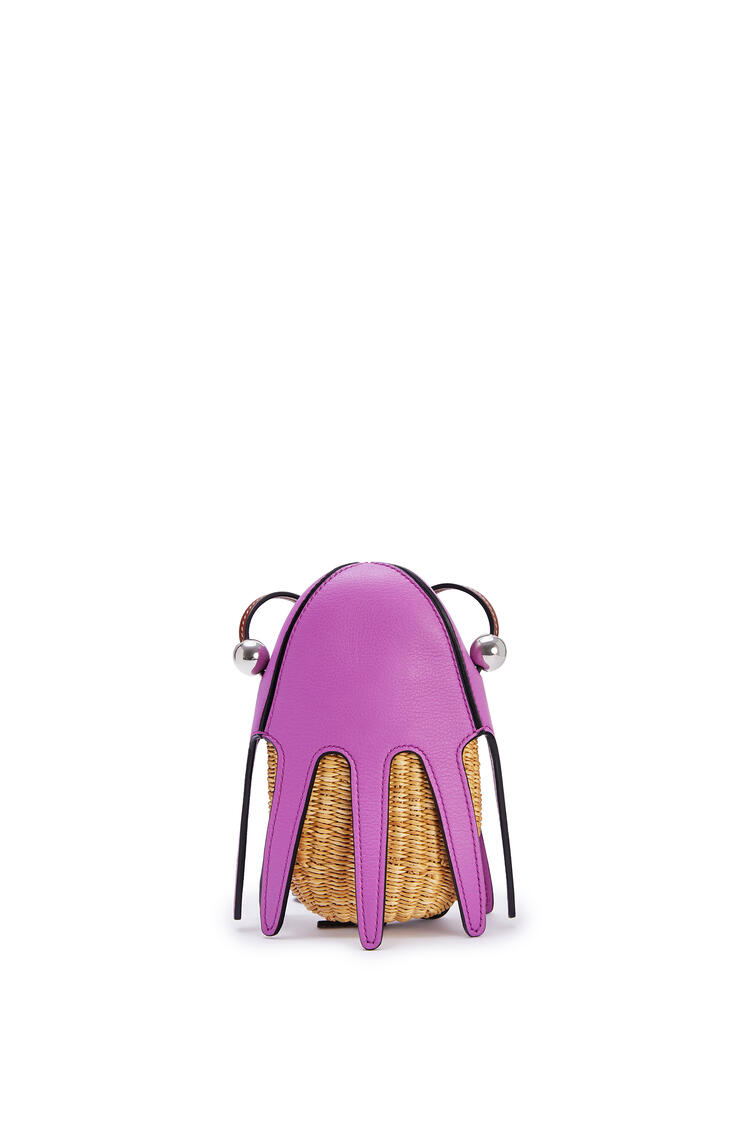 LOEWE Mini Octopus bag in elephant grass and calfskin Natural/Bright Purple pdp_rd