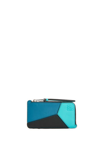 LOEWE Puzzle coin cardholder in classic calfskin Dark Lagoon/Black pdp_rd
