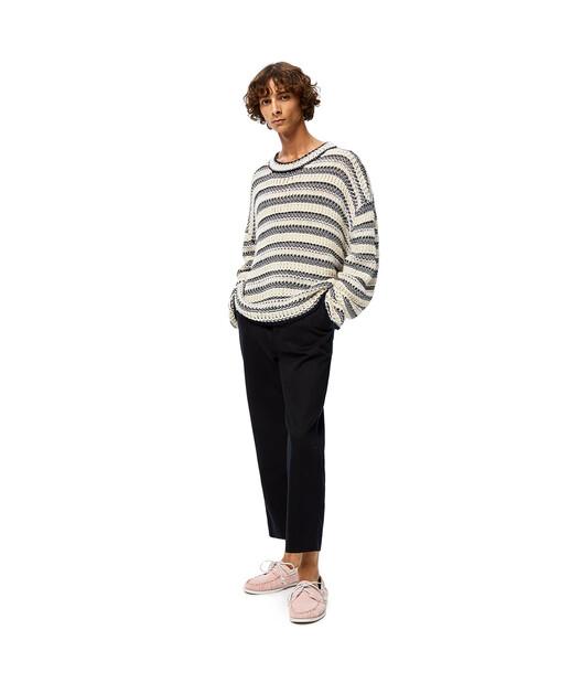LOEWE Stripe Knit Mesh Sweater 亞麻色/海軍藍 front