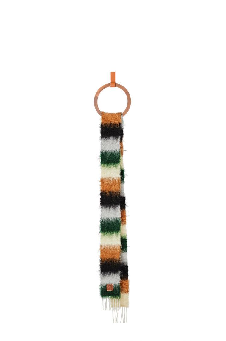 LOEWE Stripe scarf in mohair Dark Green/Grey pdp_rd