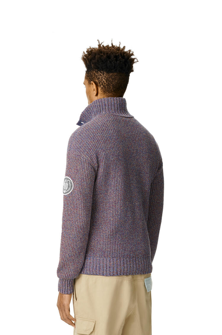 LOEWE Melange High Neck Sweater In Cotton 海軍藍 pdp_rd