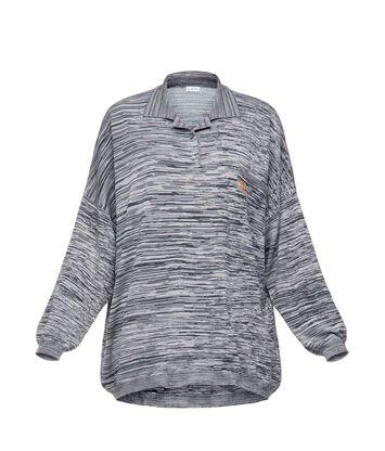 LOEWE Poloneck Sweater Melange Navy Blue/Grey front