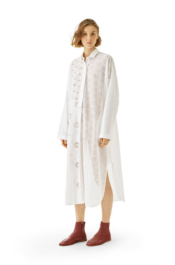 LOEWE Shirtdress Broderie Anglaise 白色 front