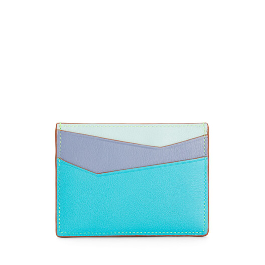 LOEWE Puzzle Plain Cardholder In Classic Calfskin Lagoon Blue/Blueberry front