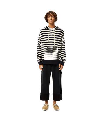 LOEWE Stripe Hoodie ecru/navy blue front