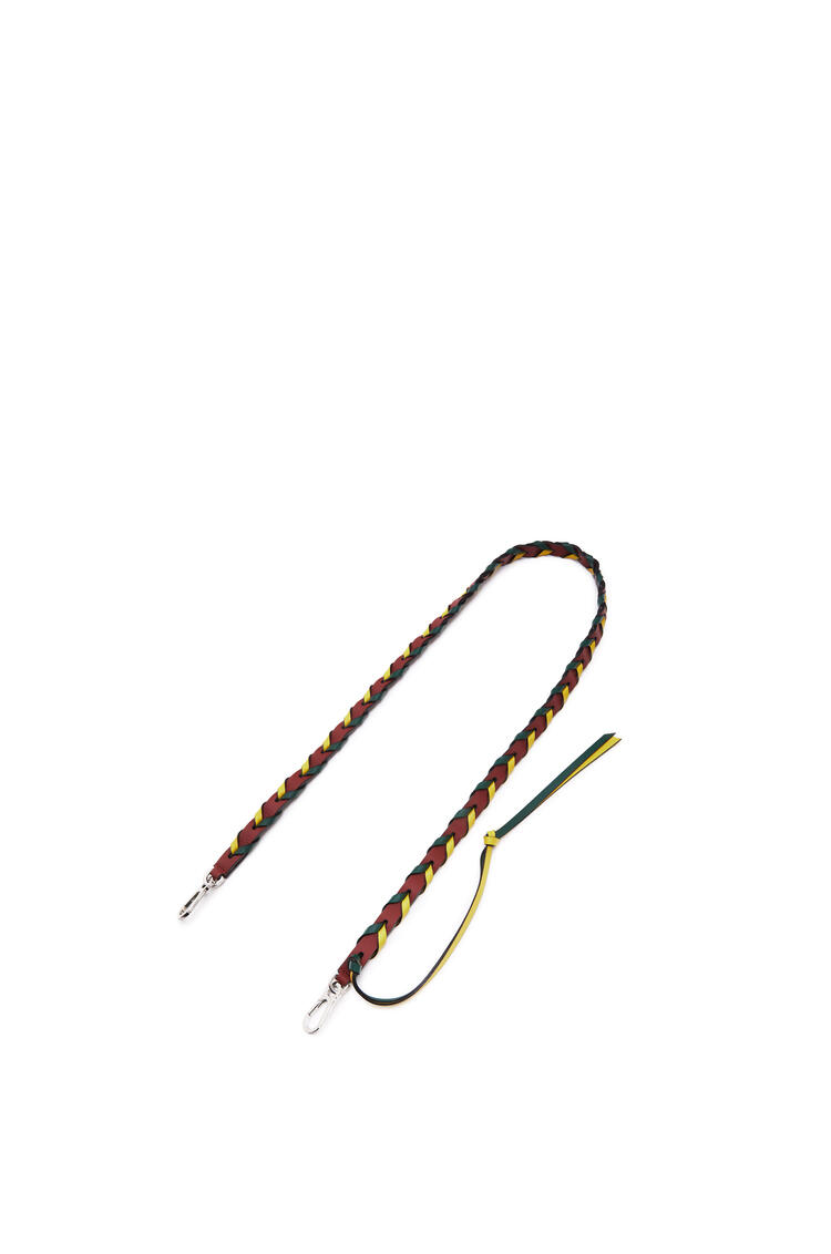 LOEWE Thin Braided strap in classic calfskin Burnt Red/Yellow pdp_rd