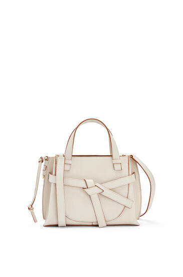 LOEWE Mini Gate top handle bag in pebble grain calfskin Light Ghost pdp_rd