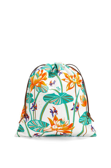 LOEWE Drawstring Pouch In Waterlily Canvas Aqua/White pdp_rd