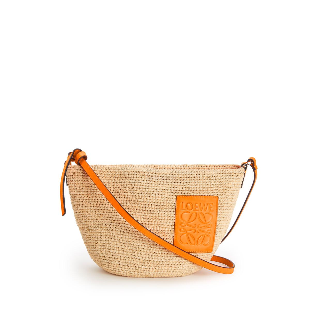 LOEWE Bolso Pochette En Rafia Y Piel De Ternera Natural/Naranja Neon front