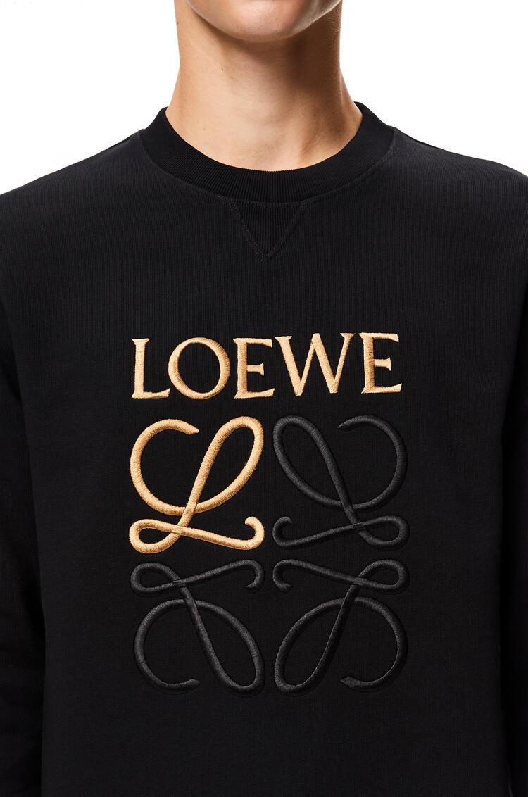 LOEWE Sudadera de algodón con el anagrama bordado Negro pdp_rd