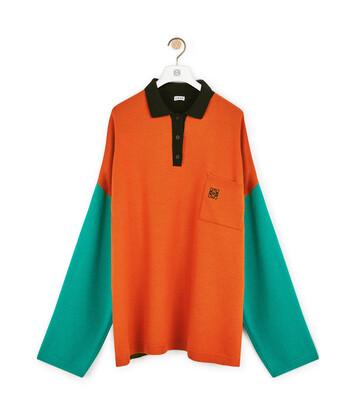 LOEWE Poloneck Sweater Green/Orange front