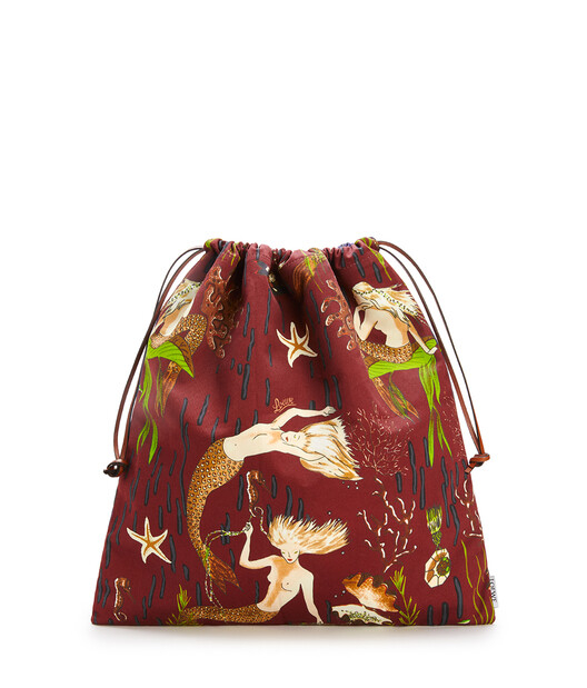 LOEWE Drawstring Pouch In Mermaid Canvas Burgundy/Marine front