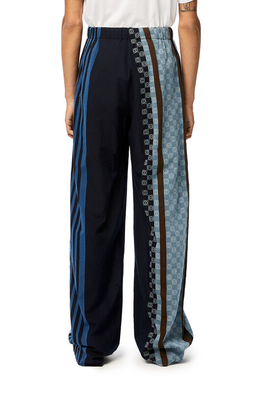 LOEWE Stripe Anagram Trousers Navy Blue/Multicolor front
