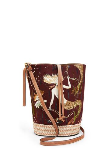 LOEWE Gate Bucket Bag In Mermaid Canvas And Calfskin Burgundy/Tan pdp_rd