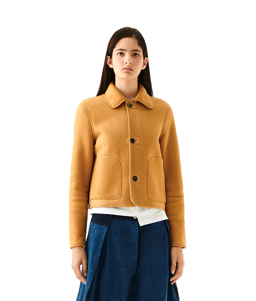 LOEWE Shearling Button Jacket Gold/White front